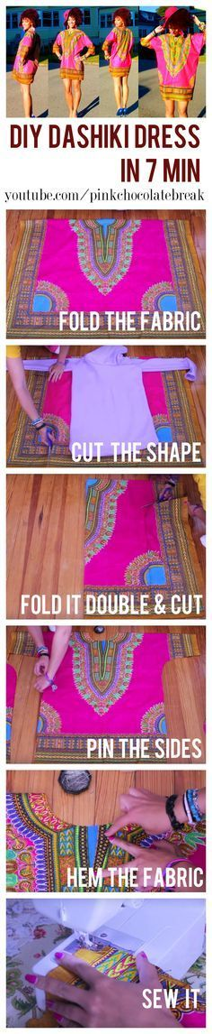 Learn how to make a DIY dashiki step by step in 7 min. Watch the full tutorial here https://diyclotheswithjocy.vhx.tv/updates/diy-dashiki-dress-in-7-min #sewing #diyclothes #dashiki