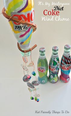 Making A Wind Chime Craft Out Of A Diet Coke Bottle