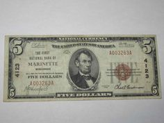 $5 1929 Marinette Wisconsin WI National Currency Bank Note Bill! Ch. #4123 VF! http://www.collectiblenotes.com/5-1929-marinette-wisconsin-wi-national-currency-bank-note-bill-ch-4123-vf/