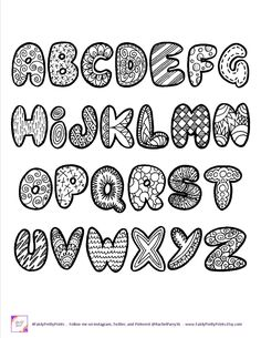 This printable alphabet comes with capital and small letters and a sheet of numbers. Print as many times as you'd like for signs, scrapbooking, planners, coloring sheets for kids and more! You will receive a 3 page PDF that is inches in size (letter Alphabet Doodle, Doodle Art Name, Doodle Art Letters, Doodle Art Journals, Alphabet Coloring, Printable Alphabet, Graffiti Alphabet, Alphabet Letters, Hand Lettering Fonts
