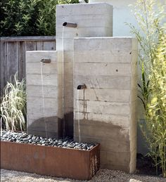 Houzz - Concrete Fountain into Zen Rock Box