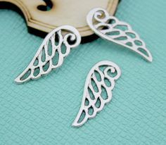 25pcs  antique silver Angel Wing Charm by DIYTreasureBox on Etsy, $2.86