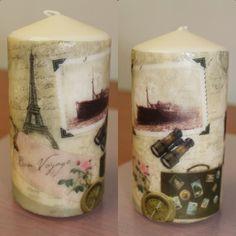 Espelma decorada amb tovallò / Vela decorada con servilleta Diy Candle Pedestal, Mercury Glass Candle Holders, Candle Art, Candle Magic, Glass Candlesticks, Decoupage Vintage, Best Candles, Diy Candles, Thrifty Decor Chick