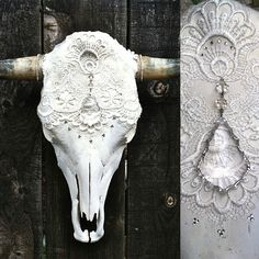 I wanna do this with my cow skull!   Let Them Eat Cake' Cow Skull. $350.00, via Etsy.