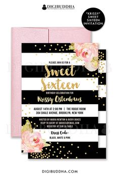 Black and white striped Sweet Sixteen birthday invitations with boho chic pink watercolor peonies and gold glitter confetti dots. Choose from ready made printed invitations with envelopes or printable sweet 16 birthday invitations. Rose shimmer envelopes also available. digibuddha.com