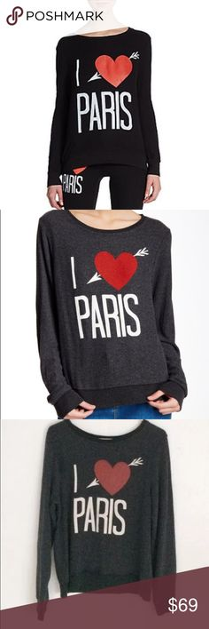 """Wildfox I love heart paris France jumper Sweater - Scoop neck - Long sleeves - Front graphic print - Approx. 26"""" length - Made in USA Fiber Content: 47% polyester, 47% rayon, 6% spandex Care: Hand wash cold Additional Info: Fit: this style fits true to size.  Model's stats for sizing: - Height: 5'9"""" - Bust: 34"""" - Waist: 23"""" - Hips: 34"""" Model is wearing size S. Wildfox Couture Tops Sweatshirts & Hoodies"""