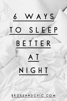 6 Ways To Sleep Better At Night // www.brokeandchic.com Sleep Better Tips, How To Sleep Faster, How To Get Better, How To Get Sleep, Ways To Sleep, Sleep Help, Good Night Sleep, Emotional Stress, Trying To Sleep