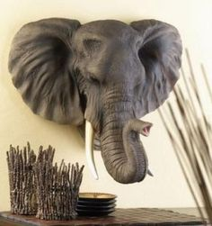 Large Hanging African Bull Elephant Head Tropical Jungle Trophy Sconce Wall Art | eBay