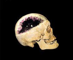 Skull shaped crystal geode