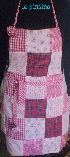 red patchwork apron