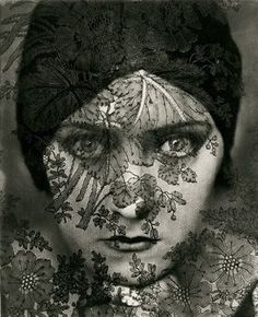 Gloria Swanson portrait by Imogen Cunningham smart idea place black or white lace in front of camera lens and this will happen!!