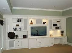 Do you feel bored at home and want to make your own DIY entertainment center? He… Do you feel bored at home and want to build your own DIY entertainment center? Here are 17 ideas for DIY entertainment centers and designs for your new residential project Built In Wall Shelves, Built In Wall Units, Desk Shelves, Built In Desk, Built In Cabinets, Wall Shelving, White Shelves, Shelving Ideas, Office Cabinets