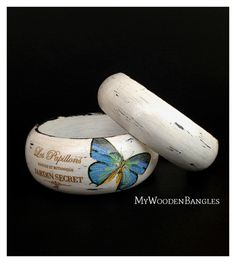 Two Wooden Bangles Bracelets Handmade Bangles by MyWoodenBangles