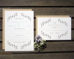 Floral Typographic Wedding Invitation Sample by LarisaPaperGoods, $3.00