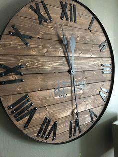 "24"" Farmhouse Clock, Oversized Wall Clock, Barnwood Wall Clock, Rustic Clock by TheWoodlandStoryCo on Etsy https://www.etsy.com/listing/518284223/24-farmhouse-clock-oversized-wall-clock"