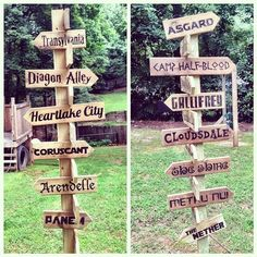 In love with how this fictional places signpost for the kids in our backyard turned out. by booturtle, via Flickr Covering all my kids' favorite fandoms: Thor, Percy Jackson, Harry Potter, Doctor Who, Lego Friends, My Little Pony, Star Wars, The Hobb