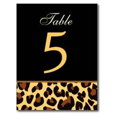 Gold and Black Leopard Wedding Table Number Card Postcard