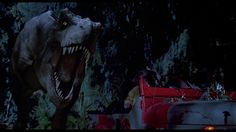 Jurassic Park / The T-Rex chasing the Jeep took some engineering. Paleontologists alleged a T-Rex could run up to 50mph. But the model was too big to run that fast, and its bones couldn't support its weight. So they dialed it down to a more acceptable 25mph. Hammond says it can go 32mph.