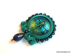 Green&blue soutache dragonfly pendant