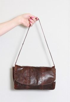 Vintage 1970's Brown Textured Handbag