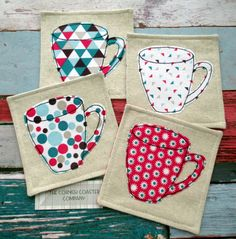 Fabric Coasters - Set of 4 Mug Coasters - Geometric Print Fabric Coasters by TheCornishCoasterCo on Etsy