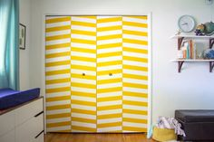 Super fun graphic pattern on the closet doors. Or anywhere.