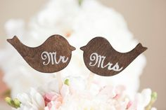 Wedding Cake Topper Love Birds Mr & Mrs by VVDesignsShop on Etsy, $21.90