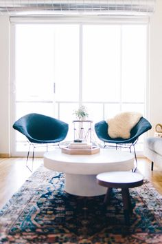 diamond chairs and bold rug