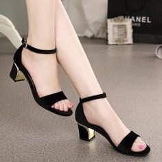 ücretsiz kargo ayak bileği kayışı orta topuk kalın topuk hakiki deri nubuk domuz astar platform sandals