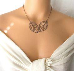 Copper Leaf Necklace Skeleton Leaf Everyday Short by kriyadesign, $20.00
