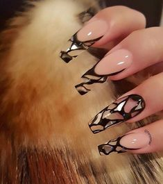 Sexy Nails, Dope Nails, Fun Nails, Best Acrylic Nails, Acrylic Nail Designs, Nail Art Designs, Nails Design, Acrylic Gel, Clear Nails With Design