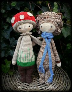 PAUL the toadtool and LONI the lion made by Marcella's Amigurumi / crochet pattern by lalylala