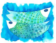 Original sealife watercolor Blue green pattern fish watercolour by JellyfishValley