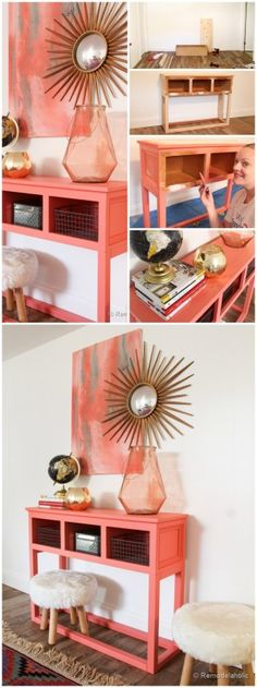 Make an Entry table with an old kitchen cabinet @remodelaholic #sherwin-williams Color: Coral Reef SW 6606