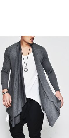 Outerwear :: Cardigans :: Avant-garde Edge Ruffle Accent Shawl-Cardigan 38 - Mens Fashion Clothing For An Attractive Guy Look