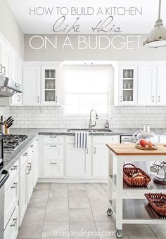 awesome budgeting tips for kitchen renovations including painted cabinets, white subway tile and granite countertops | maisondepax.com #budgetkitchen #kitchenrenovation #kitchenideas #whitekitchen #subwaytile New Kitchen Cabinets, Kitchen Backsplash, Kitchen Countertops, White Cabinets, Gray Countertops, Kitchen Sink, Kitchen Soffit, Basement Kitchen, Affordable Kitchen Cabinets