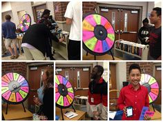 """Spin to Celebrate School Library Month:The most popular prizes wee free books and mystery QR Codes that students had to """"discover"""" and then bring the image of their prize back to us."""