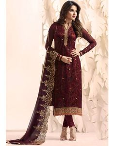 fe06bb895f5acc Burgundy Straight Fit Georgette Suit