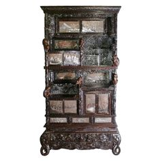 Rare Chinese carved hardwood and painted panel display cabinet