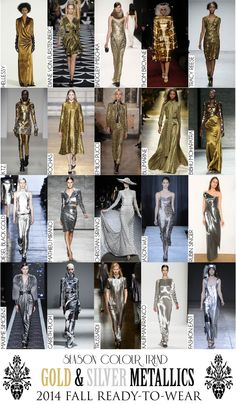 Colour Trend - 2014 Fall RTW Collection Review (Autumn/Winter) - Gold & Silver Metallics Fall Winter, Autumn, 2014 Trends, Fashion Colours, Season Colors, Color Trends, Ready To Wear, Silver, Gold
