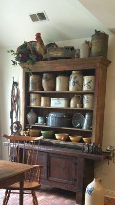 Antique Crocks, Old Crocks, Primitive Home Decorating, Primitive Decor, Stoneware Crocks, Antique Stoneware, Country Farmhouse, Country Decor, Rustic Kitchen