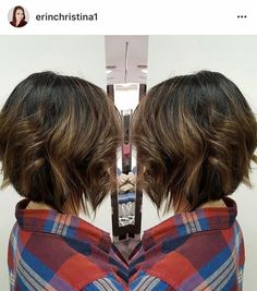 Blonde caramel balayage ombré highlights on short a-line bob brunette hair by Erin at Dallas Roberts Salon in West Jordan, Utah #801 #slc #slchair #westjordan #801hair #utah #wella #wellalife #utahstylist #utahsbest #behindthechair #americansalon #hairnerds #modernsalon #hair #bangstyle #kevinmurphy #dallasrobertssalon #drsbalayage