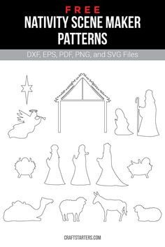 Free nativity scene maker outline patterns in a variety of formats including images, vector files, and printable versions. Use them for crafting, cutting machines, and more. Christmas Yard Art, Christmas Wood Crafts, Outdoor Christmas Decorations, Christmas Activities, Christmas Projects, Christmas Crafts, Diy Christmas Nativity Scene, Christmas Printables, Outdoor Nativity Scene