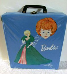 """powder blue """"patent leather"""" Barbie Doll case was produced by Ponytail in 1963. Artwork features a close-up of a titian bubble cut Barbie, overlooking a blonde bubble cut wearing Sophisticated Lady rendered in teal green and rose pink"""