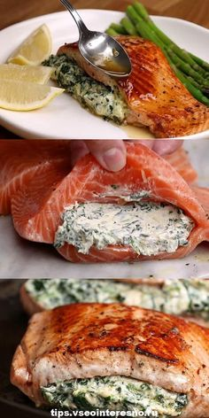 Appetizing red fish with cream filling- Аппетитная красная ры.- Appetizing red fish with cream filling- Аппетитная красная ры… Appetizing red fish with cream filling-… - Shellfish Recipes, Seafood Recipes, Vegetarian Recipes, Dinner Recipes, Cooking Recipes, Healthy Recipes, Russian Dishes, Russian Recipes, Good Food