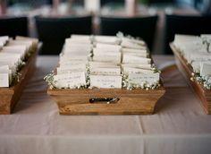 Wooden Box, Baby's Breath Escort Card Display