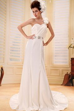 Ivory Satin Spaghetti Strap Bridal Dress - Order Link: http://www.theweddingdresses.com/ivory-satin-spaghetti-strap-bridal-dress-twdn0463.html - Embellishments: Applique , Embroidery , Flower , Sequin; Length: Chapel Train; Fabric: Satin; Waist: Natural - Price: 155.92USD