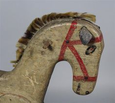 FOLK ART PAINT DECORATED WOODEN ROCKING HORSE