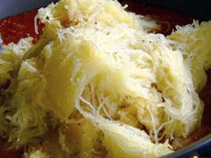 Get Spaghetti Squash with Marinara Recipe from Food Network - Can be made vegetarian or with meat.  DS likes it, as long as we call it spaghetti.
