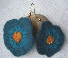 needle felted earrings